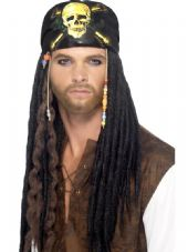 Pirate Dreadlocks Wig with Headscarf & Beads